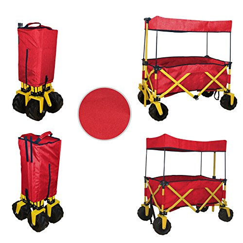 COMPACT FOLDED JUMBO WHEEL RED FOLDING WAGON ALL PURPOSE GARDEN UTILITY BEACH SHOPPING TRAVEL CART OUTDOOR SPORT COLLAPSIBLE WITH CANOPY COVER - EASY SETUP NO TOOL NECESSARY - SPACE SAVER