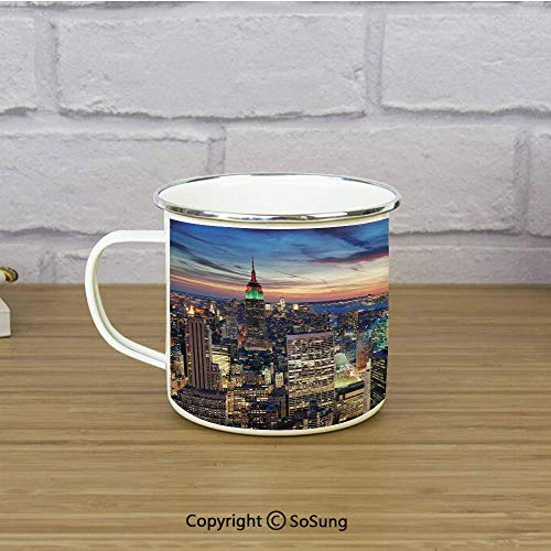 New York Travel Enamel Mug,Skyline of NYC with Urban Skyscrapers at Sunset Dawn Streets USA Architecture,11 oz Practical Cup for Kitchen, Campfire, Home, TravelOrange Blue