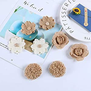 APICCRED 24PCS Burlap Flowers for Crafts 12Styles Natural Handmade Rustic Rose Flower for Burlap Decoration DIY Craft Bouquets Home Wedding Christmas Party Decoration 4