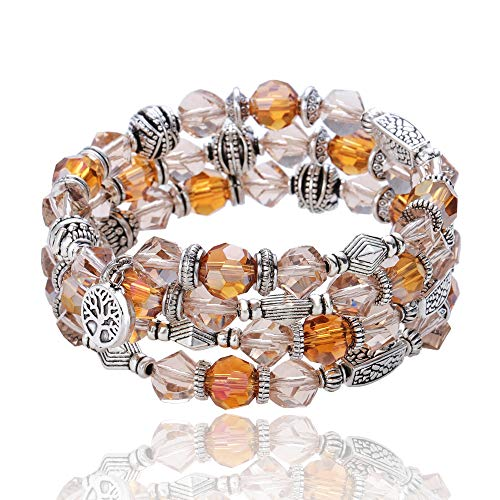Crystal Beaded Bracelets - EImejor Crystal Beaded Wrap Bracelets —— Tree of Life Women Bangle with Crystal Beads, A Little Romance for Sister and Friends