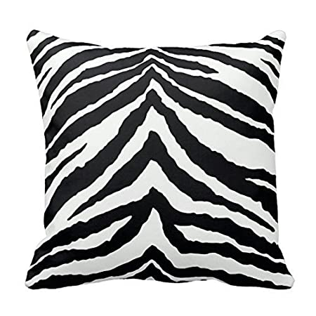 Black and white zebra print stripes animal print throw pillow case decor cushion cover 18x18 inch