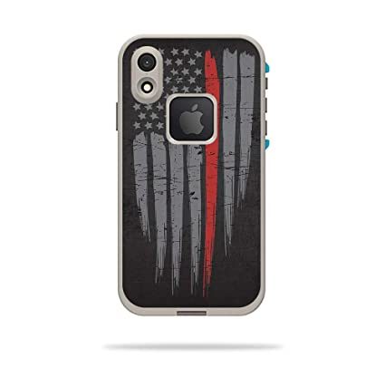 pretty nice f7e9c 489fc MightySkins Skin for LifeProof FRE iPhone XR Case - Thin Red Line |  Protective, Durable, and Unique Vinyl Decal wrap Cover | Easy to Apply,  Remove, ...