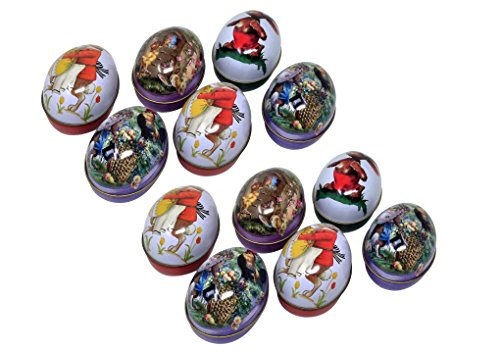Easter Vintage Eggs - EggBaskets Tin Easter Eggs, Vintage Rabbit Bunny Chicken Chick Rooster Flower Basket (12)