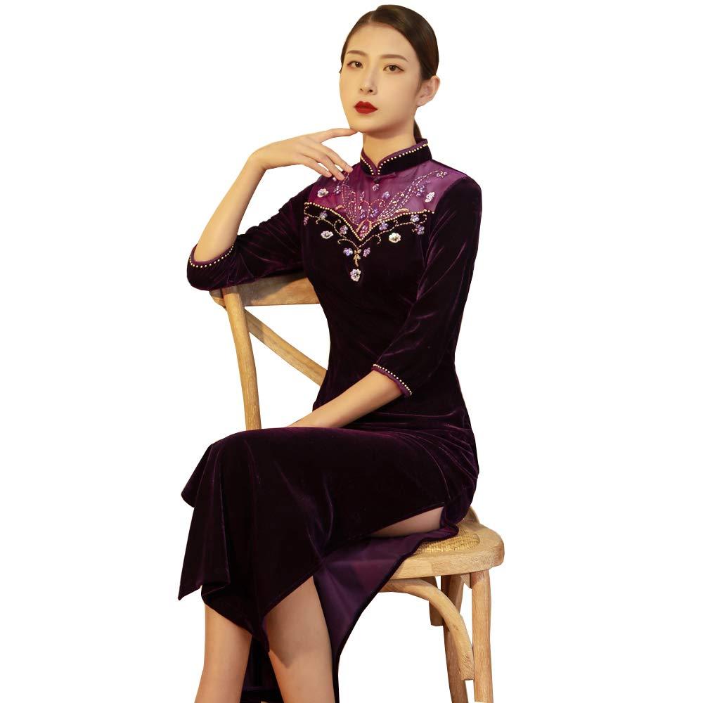 violet L YONGMEI Modèles de Robe de soirée Cheongsam de Haut de Gamme avec atmosphère
