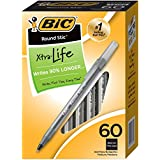 BIC Round Stic Xtra Life Ballpoint Pen, Medium Point (1.0mm), Black, 60-Count