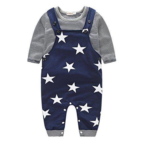 Blue Polyester Parka Set (Baby Boys Ourfits,Laimeng Baby Boys Cotton Pants Sets Stripe T-shirt Top Bib Pants Overall Outfits (80,)