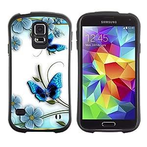 LASTONE PHONE CASE / Suave Silicona Caso Carcasa de Caucho Funda para Samsung Galaxy S5 SM-G900 / Butterfly White Floral Flower Petal