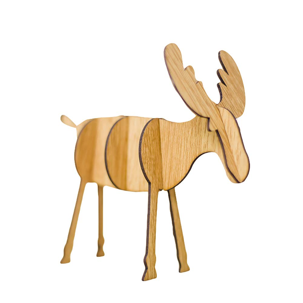 Bluelans Christmas Decorations, Christmas Reindeer Elk Ornament Wooden Building Block DIY Toy Party Gift Decor Xmas Gifts Xmas Stocking Fillers