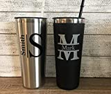Personalized 22 oz Stainless Steel Tumbler with Custom Monogram Vinyl Decal by Avito - Includes Straw and Lid - Gift for Him, Groomsman, Bachelor Party