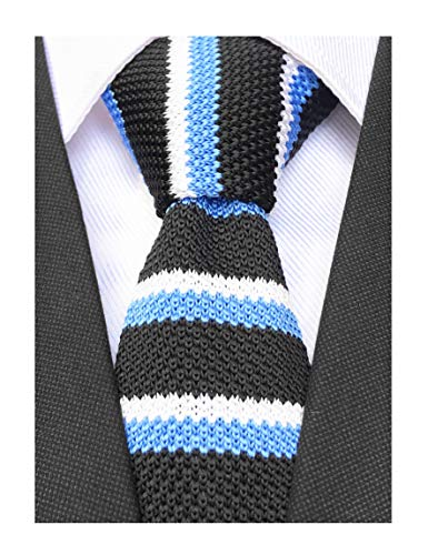 (Men Casual Black White Blue Woven Tie Classic Knit Preppy Thin Stripes Formal Party Wedding Prom New Necktie)