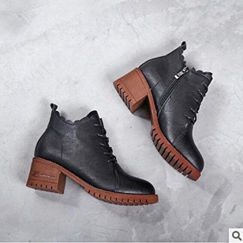 de tacón botines Invierno botines Black de Chunky Negro HSXZ Confort Casual Marrón de PU Mujer Toe botas Otoño Zapatos Round xx1qzpZ