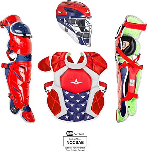 Blue Catchers - All-Star System7 Axis USA Pro Intermediate Catchers Set Red/White/Blue