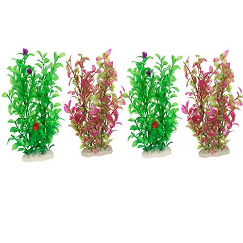 MEWTOGO 4Pcs Aquarium Plastic Plants Fish Tank Decor Set with Ceramic Base (green and wine red) by MEWTOGO