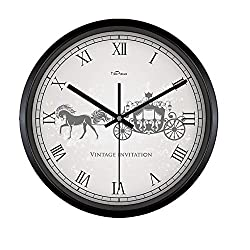 Kinger_Home (12-14)-Inch Large Fashion Concise Design Bedroom/living Room Round Ultra Mute Quartz Movement Metal Frame Wall Clock (12 inch, Black)