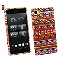 Emartbuy® Value Pack For Sony Xperia Z5 Compact LCD Screen Protector + Gel Skin Case Cover Aztec + Compatible Micro USB Car Charger