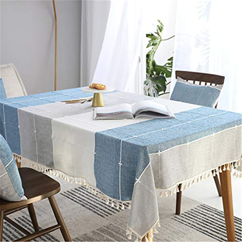ersgfv Tablecloth Fabric Lattice Small Square Cotton Waterproof and Oil-Proof Disposable Modern Minimalist Blue Gray White 140x220cm ()