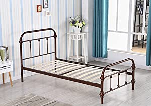 merax metal platform bed frame twin size mattress foundation with headboard and wooden slat supports bronze