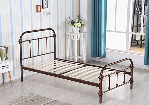 Merax Metal Platform Bed Frame Twin Size Mattress Foundation with Headboard and Wooden Slat Supports (Bronze Twin Size Bed)