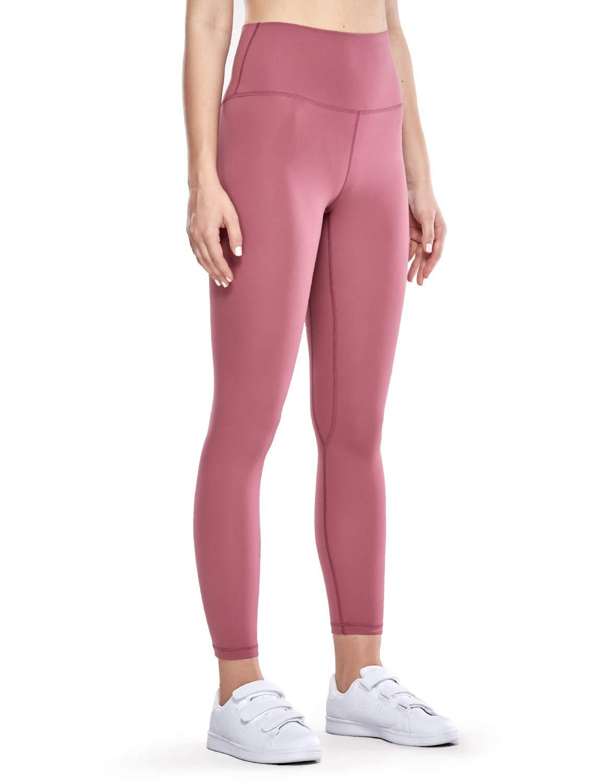 CRZ YOGA Women's Naked Feeling II High Waist Yoga Leggings Workout Pants with Pocket -25 Inches Misty Merlot S(4/6)