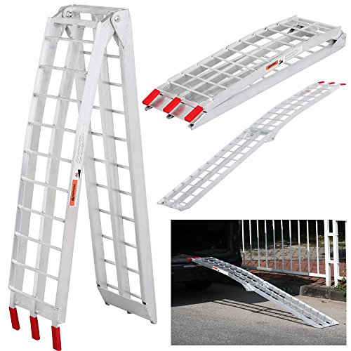 7.5' Heavy Duty Aluminum Motorcycle Arched Truck ATV UTV Folding Loading Ramp - Arched Aluminum Folding Ramp