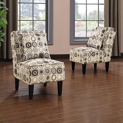 Amazon.com: Armless Accent Chair, Set of 2, Geometric ...