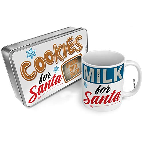 NEONBLOND Cookies and Milk for Santa Set Straight Outta Salem Halloween Spooky Design Christmas Mug Plate Box -