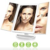 LivingPro Vanity Makeup Mirror with Upgraded Anti-Glare & Natural LED Lighting Controlled by Dimmable Touch Screen Sensor Dual Power Supply & 3X 2X 1X Magnification Review