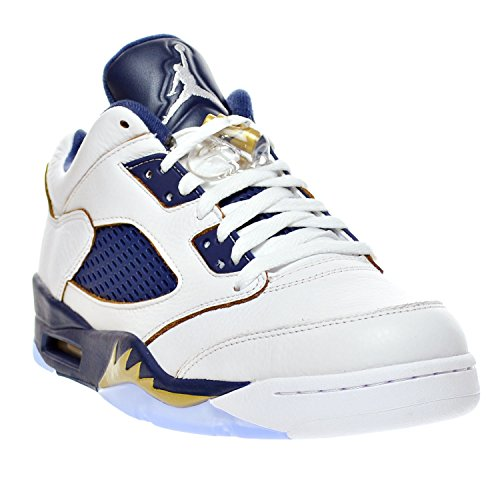 AIR JORDAN 5 RETRO LOW Herren Turnschuhe 819171-101 Weiß / Metallic Gold Star-Mitternacht Navy