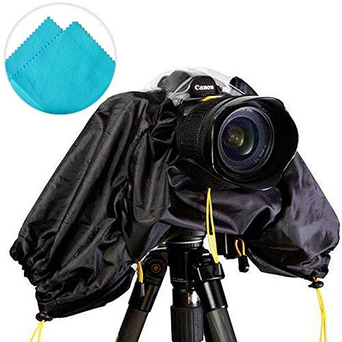 first2savvv SLRカメラ雨コートカバーfor Olympus Nikon Canon B00W12GF2M 1 X camera rain cover + 1 X blue Cleaning cloth