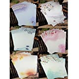 Ziye Shop 48 Pcs Writing Stationery Paper Chinese Style Vintage Flower Craft Letter Paper (6 models, 8 sheets per model) (B)
