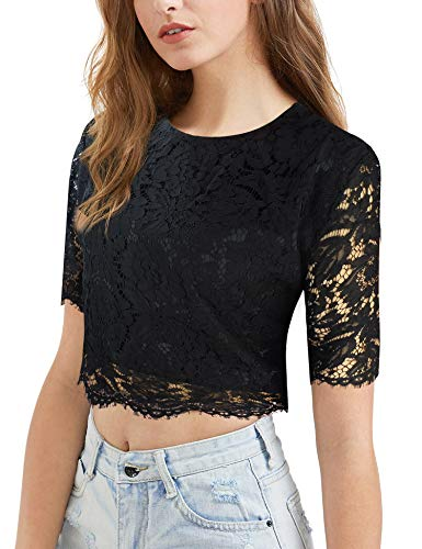 modase Women's Henley Short Sleeve Scalloped Hem Lace for sale  Delivered anywhere in Canada