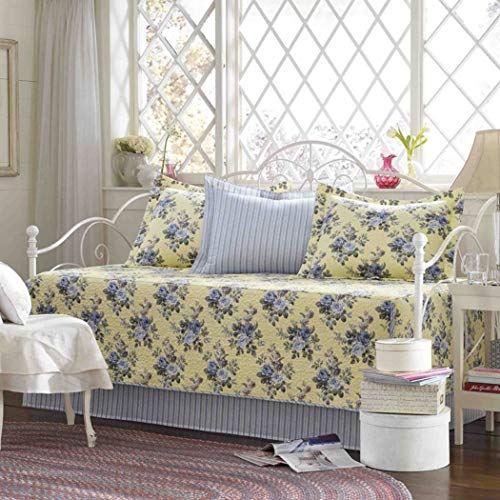 5 Piece Blue White Floral Daybed Cover Set, Geometric French Country Shabby Chic Motif Flower Traditional Pattern Day Bed Bedskirt Pillows, Polyester (French Daybed Country)
