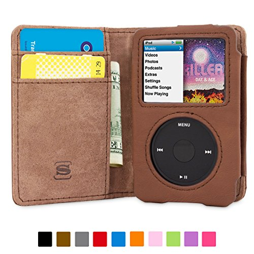 iPod Classic Case, Snugg Brown Leather Leather Flip Case [Card Slots] Executive Apple iPod Classic Wallet Case Cover and Stand - Legacy Series -