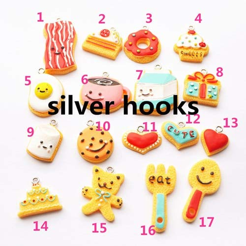 Cell's world - 30pcs 2232mm Miniature Food Charms Resin Charms Cake Coffee Necklace Pendant Keychain Charms for DIY Decoration ()