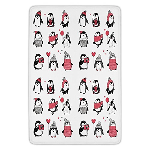 tchen Floor Mat Carpet,Winter,Cute Penguins Hand Drawn Style Set Merry Christmas Greetings Babies Kids Toddler,Flannel Microfiber Non-slip Soft Absorbent (Winter Greetings Bath)