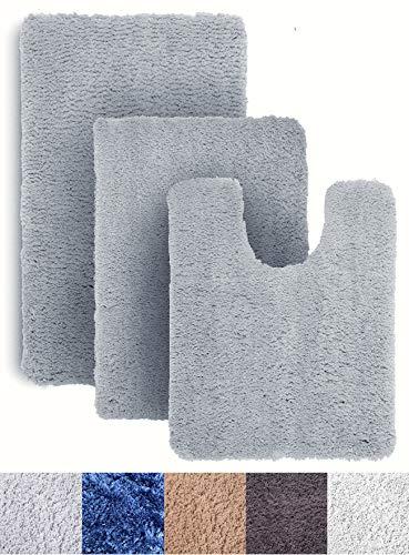 Luxe Rug Light Gray Blue Plush Bathroom Rugs Bath Shower Mat Set w Non Slip Microfiber Super Absorbent Rug Alfombras para Baños (3, Light Grey Blue)