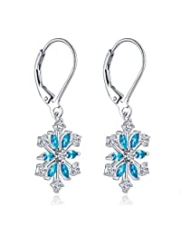 """YL Sterling Silver Cubic Zirconia Blue Frozen Snowflakes Jewelry Set with White Gold Plated Chain 18+2"""""""