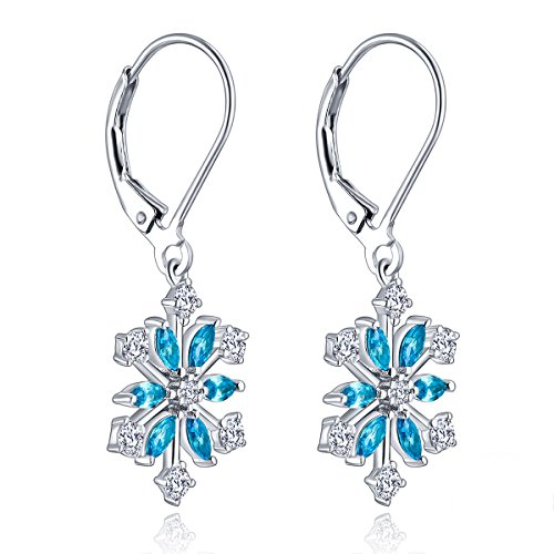 Cubic Sapphire Zirconia Jewelry (YL Snowflakes Dangle Earrings Sterling Silver Cubic Zirconia Leverback Earring Created Sapphire Jewelry)