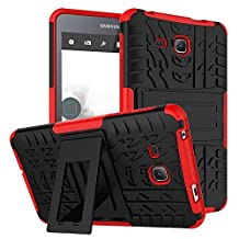 """Tab A 7.0 Case DWaybox Armor 2in1 Combo Hybrid Rugged Heavy Duty Hard Back Cover Case with kickstand for Samsung Galaxy Tab A 7.0 Inch 2016 SM-T280 / T285 / Samsung Tab A6 7.0"""" (Red)"""