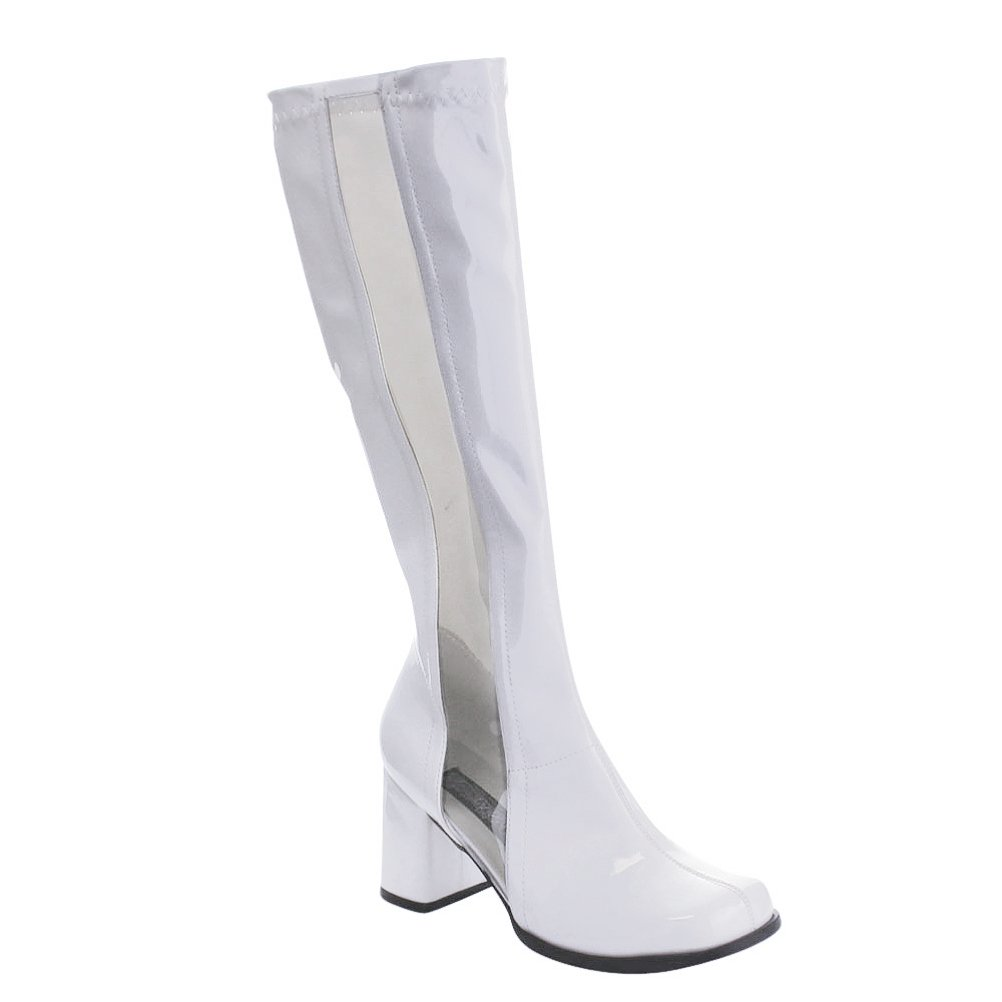 e12ed2acddf Amazon.com  Womens See Through Boots White Go Go Boots Clear Stripe Knee  High 3 Inch Heels  Clothing