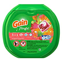 Gain Flings Laundry Detergent Packs, Tropical Sunrise Scent, 57 Count - Packaging May Vary