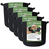 Grow Bags Fabric Planter Raised Bed Aeration Container 5 Pack Black (5 Gallon with Handles)