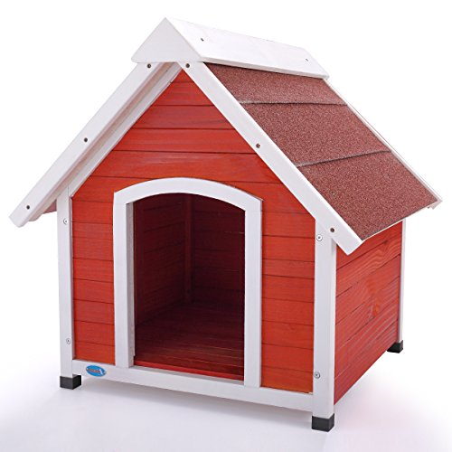 A-Frame Dog House Solid Wood Outside Stained Rustic Window Spacious Pet MEDIUM
