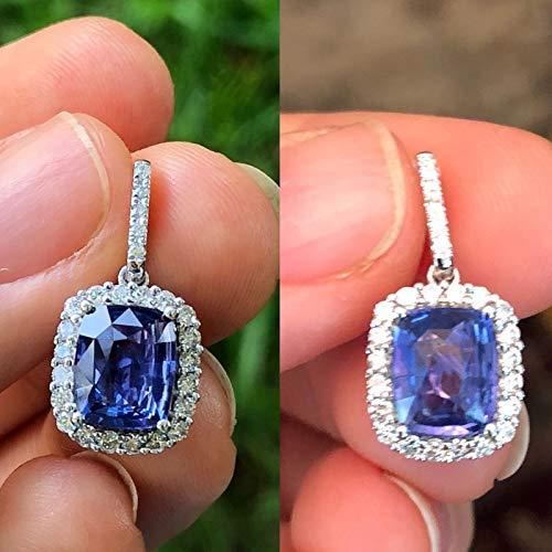14k White Gold Green Sapphire - Natural Sapphire Color Change Diamond Pendant/Necklace Cushion Cut Dangle Green to Purple 14K White Gold NEW