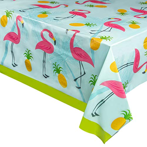 - Juvale 3-Pack Flamingo Plastic Tablecloth - Rectangle 54 x 108 Inch Disposable Cover, Fits Up to 8-Foot Long Tables, Tropical Summer, Luau Themed Party Supplies, 4.5 x 9 Feet
