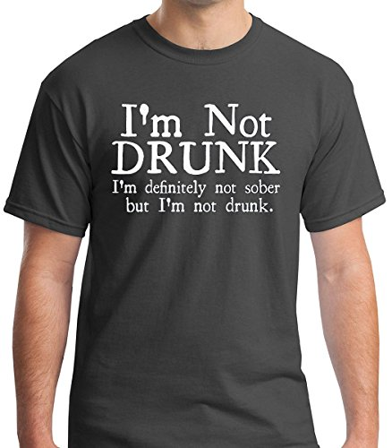 Raw T-Shirts I'm Not Drunk Definitely Not Sober But Not Drunk - Funny Drinking Premium Men's T-Shirt (X-Large, Charcoal)
