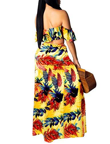 Rela Bota Women's Sexy Vintage 2 Piece Outfit Ruffle Off Shoulder Crop Top Maxi Skirt Slit Party Dress