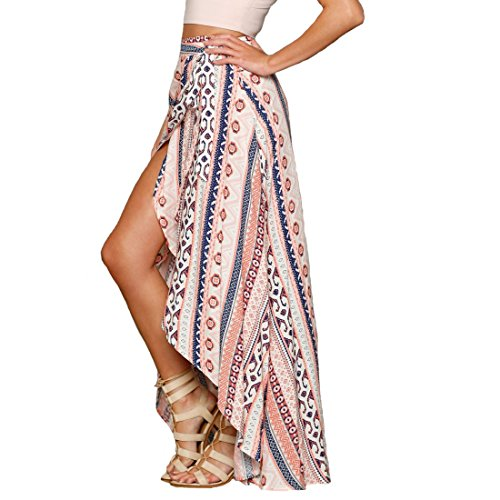 6cda8242a1f 30%OFF SHFZ Womens Ethnic Print Maxi Skirt Wrapped Beach Bathing Suit Cover  up Dress