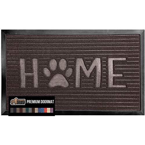 Gorilla Grip Original Durable Natural Rubber Door Mat, 23x35, Heavy Duty Doormat for Indoor Outdoor, Waterproof Easy Clean, Low-Profile Rug Mats for Entry Patio High Traffic Areas, Espresso Home Paw