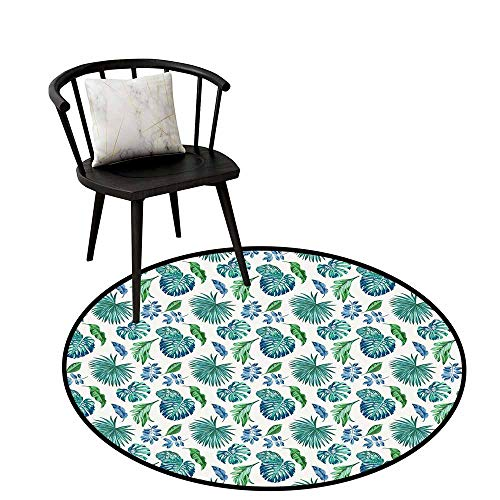 - Area Rugs Round Circular Carpet Thick Green Leaf,Monstera Coconut Palm Tree Leaves Exotic Rainforest Foliage Eco,Turquoise Green Navy Blue,Artwork Print Anti-Skid Area Rug 20